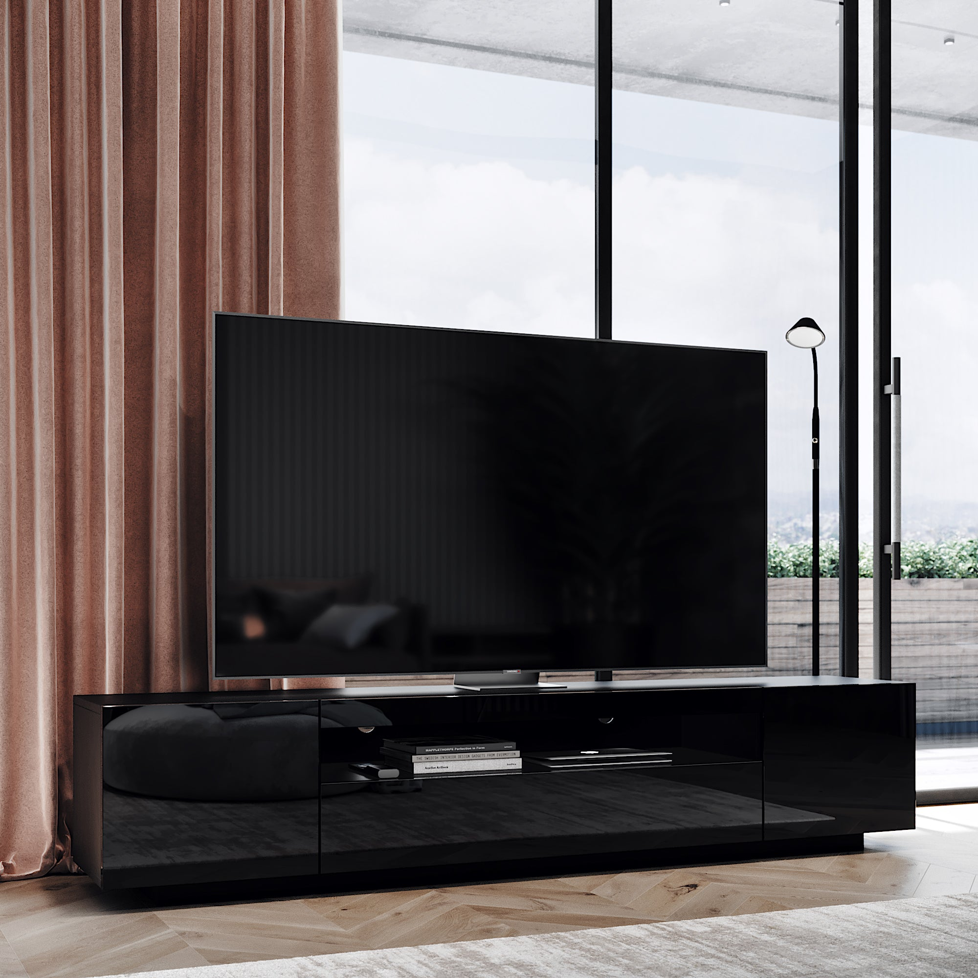 Samso Black Tv Stand For Tvs Up To 75 With Led Lights Loft Loft Design Company