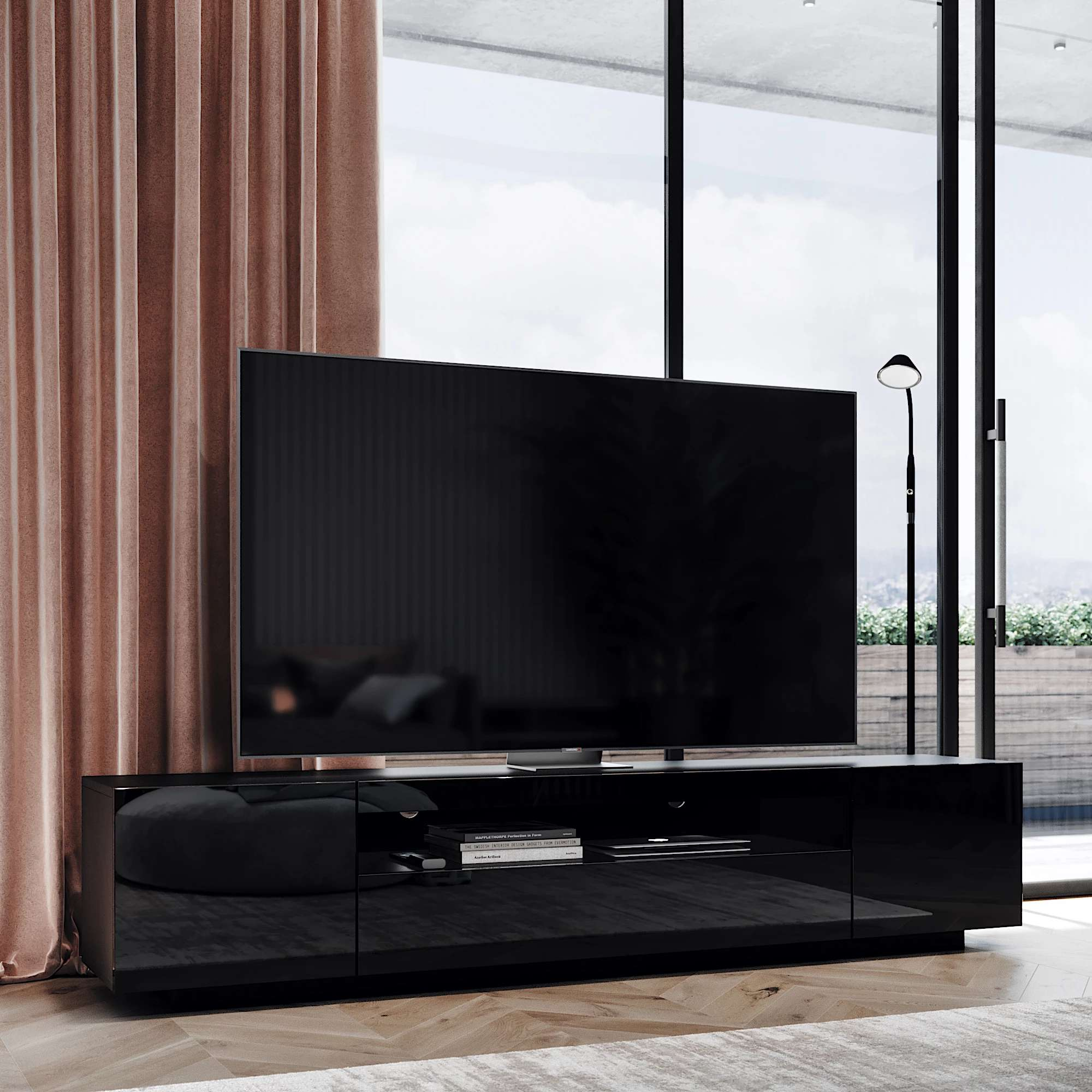 Black Samso TV Cabinet in modern chique Scandinavian living room with an 80 inch flat screen TV