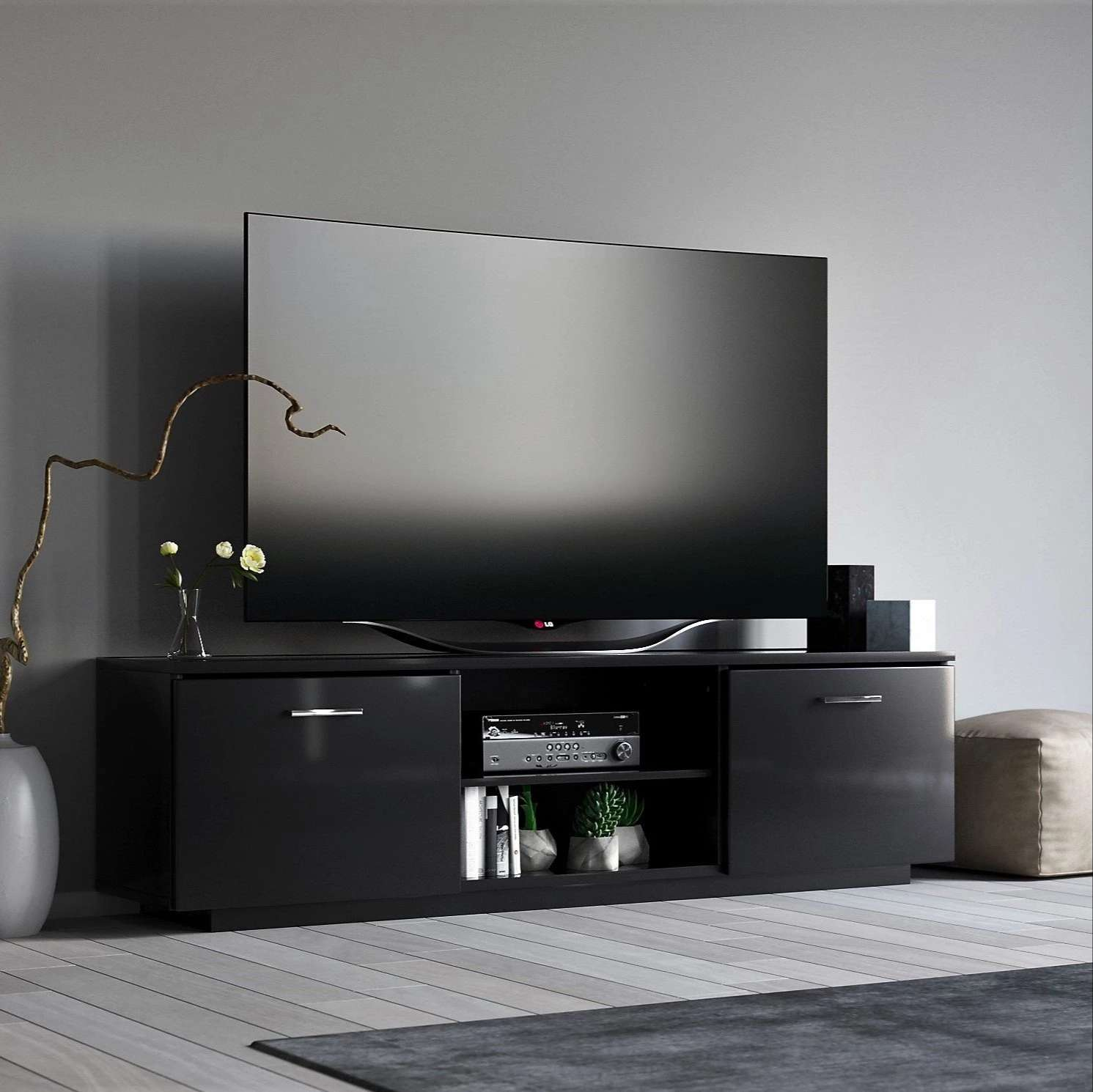 Modern Black TV Cabinet - ROSKILDE gloss black finish media unit