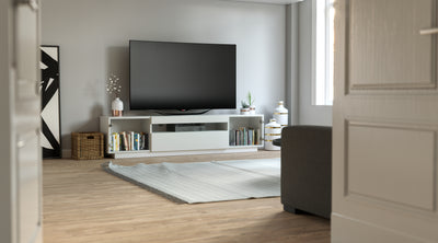 SAMSO GLASS TV STAND - WHITE FOR TVS UP TO 75""
