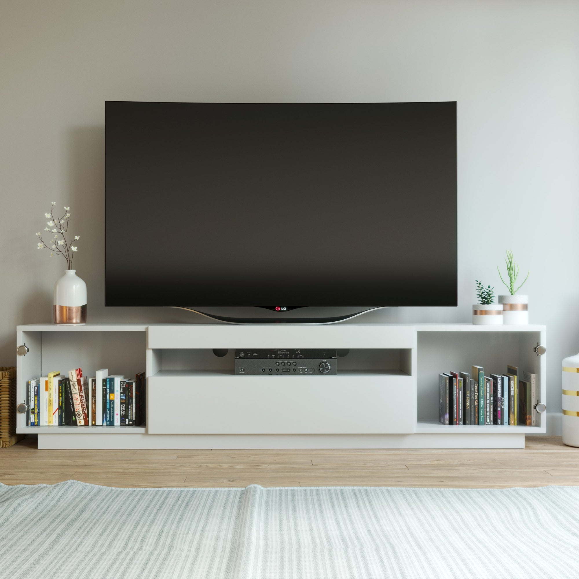 Samso Glass TV Stand - White for TV's up to 85""
