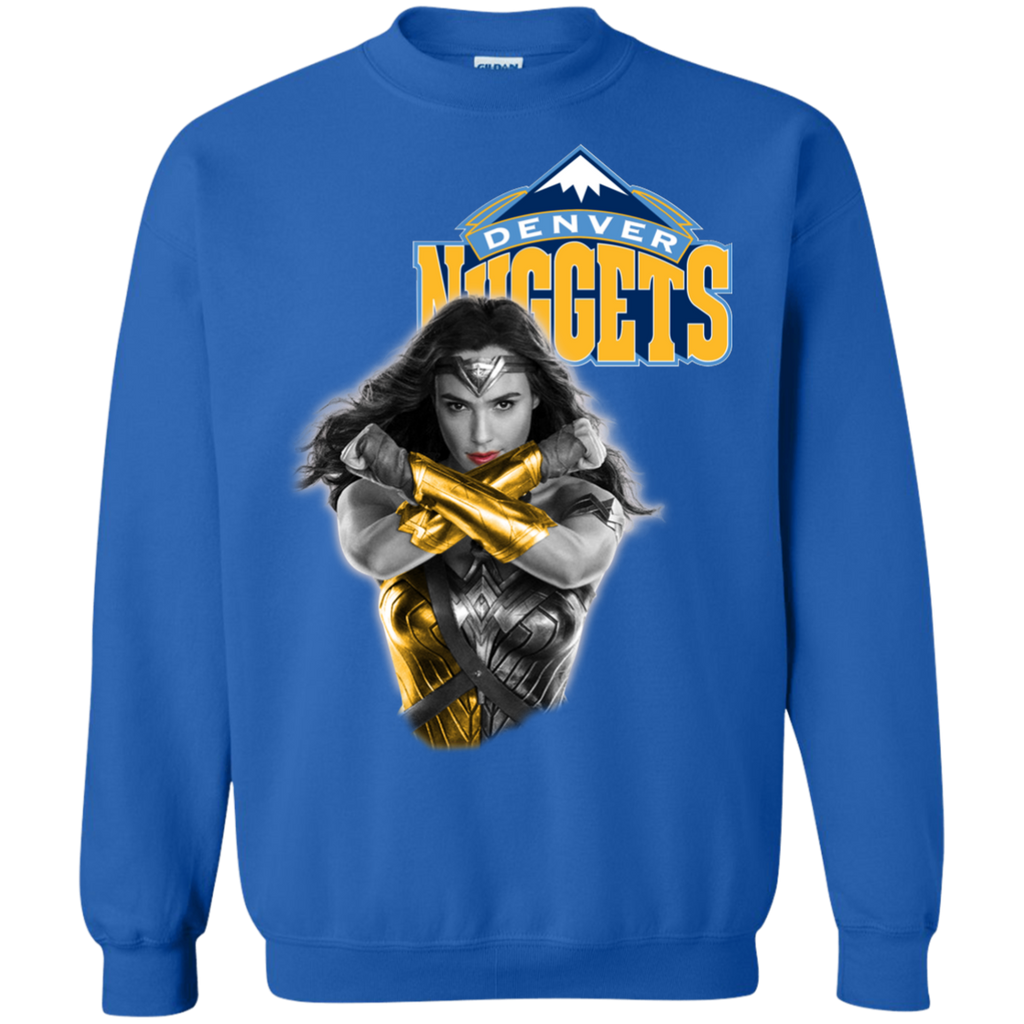 83de1182ae5 Denver Nuggets Basketball Wonder Woman Sweatshirts T-shirts Hoodies Long  Sleeve G180 Gildan Crewneck Pullover