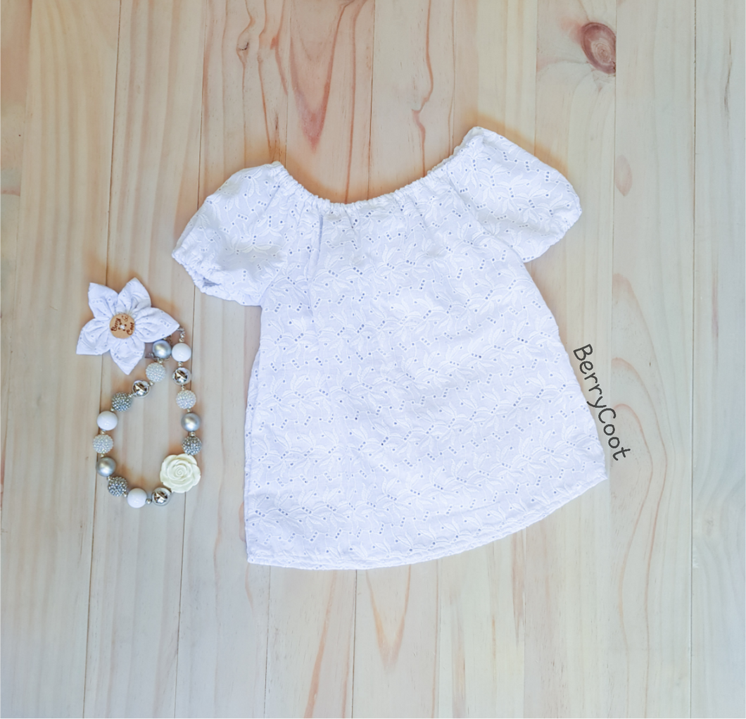 White, textured, princess sleeved girls top