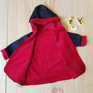 Denim and red corduroy hooded jacket