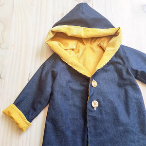 Denim and mustard corduroy hooded jacket