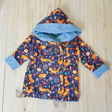 Light blue denim and woodland foxes hooded jacket