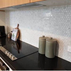 Carrara marble hex mosaic 25mm