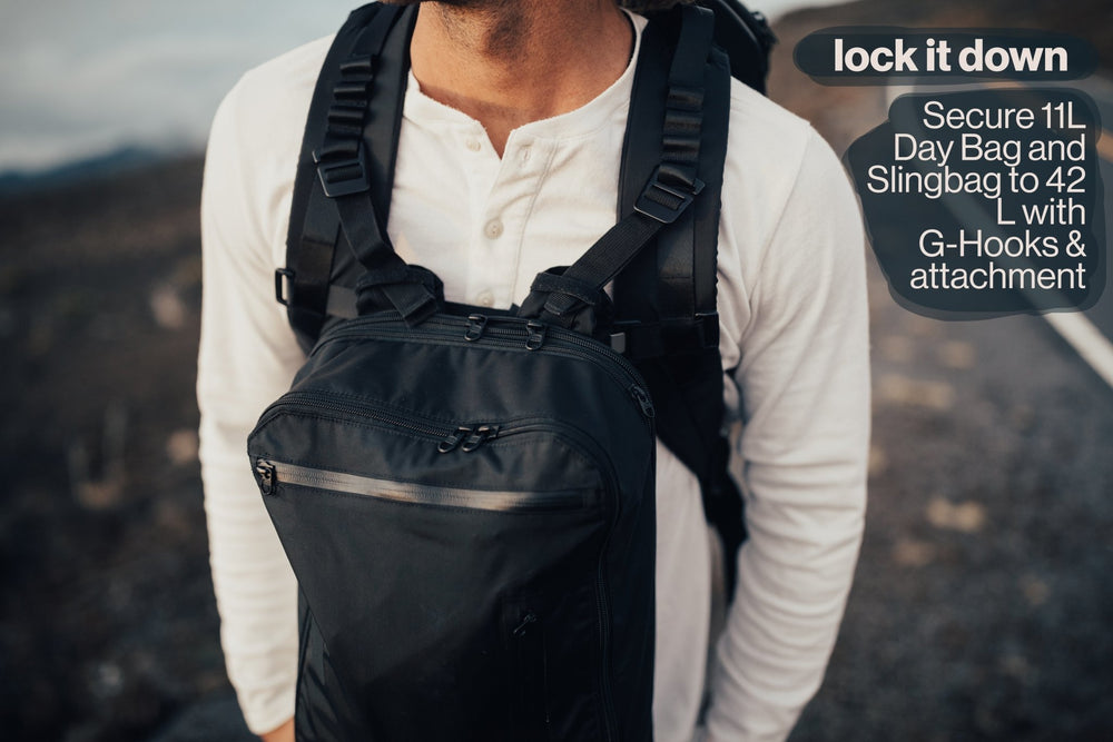 42L Carry-On Backpack - Gravel - Lock it down. Secure 11 Liter Day Bag to your 42 Liter with g-hooks and an attachment