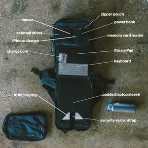 42L Carry-On Backpack - Gravel - 42 Liter Backpack open showing the features on the inside. The inside shows a mouse, hard drive, laptop sleeve and power bank.