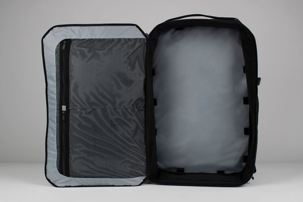 42L Carry-On Backpack - Gravel - 42 Liter Backpack open on a white background