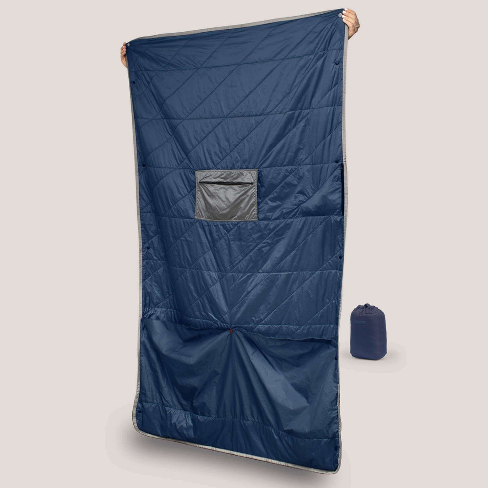 Blue Layover™ Travel Blanket - Packable & Insulated - Gravel - Blue Layover™ Travel Blanket Open showing foot pockets and closed bag.