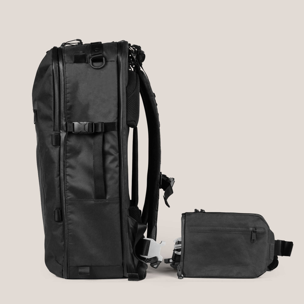42 Liter Backpack & Sling Bag/Hip Belt unattached from each other