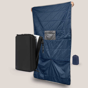Explorer PLUS™ Toiletry Bag & Blue Layover Blanket - Gravel