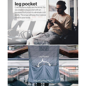 Layover blanket has leg pocket to combat cold drafts
