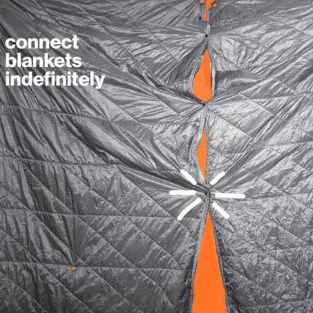 Layover blanket connects indefinitely to other blankets