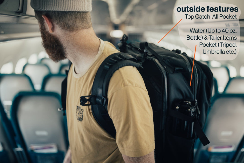 Outside features: Top catch all pocket. Water bottle up to a 40 ounce fits inside of taller pocket. You can also fit a tripod or umbrella.
