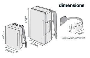 Dimensions of 2 Liter Sling Bag, The sling bag is 40 CM when closed and 15 cm tall. The 42 Liter is 47 cm tall and 35.5 cm long when closed. The 11 liter is 40.5 cm tall and 25.25 long when closed.