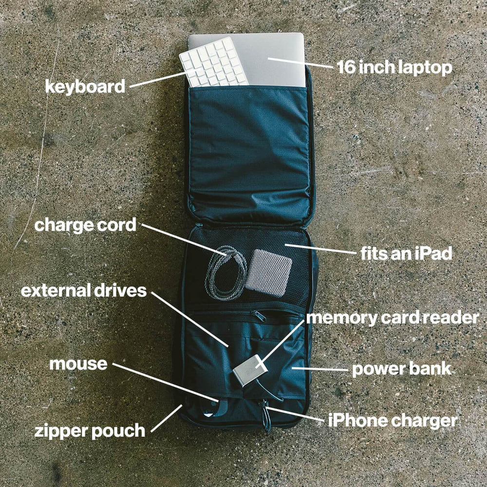 Inside of 11 Liter backpack showing 16 inch laptop, keyboard, chargers, hard drives and power banks