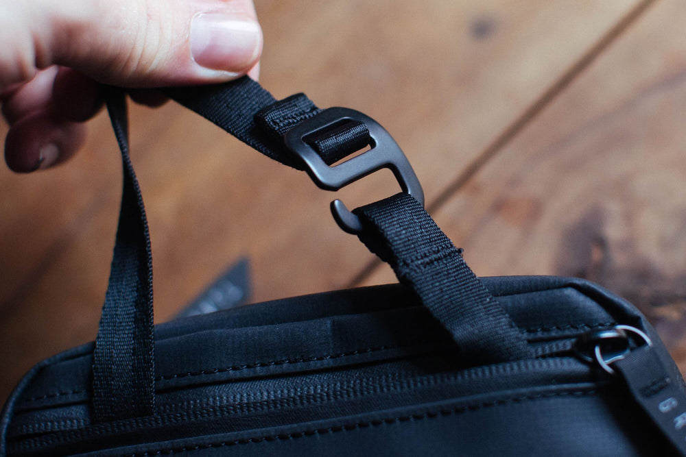 Hang the plus toiletry bag anywhere with a stowaway strap
