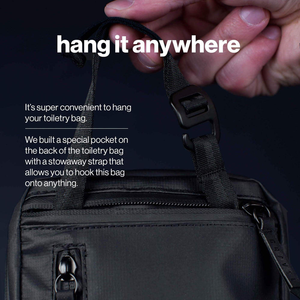 Load image into Gallery viewer, Hang the plus toiletry bag anywhere with a stowaway strap
