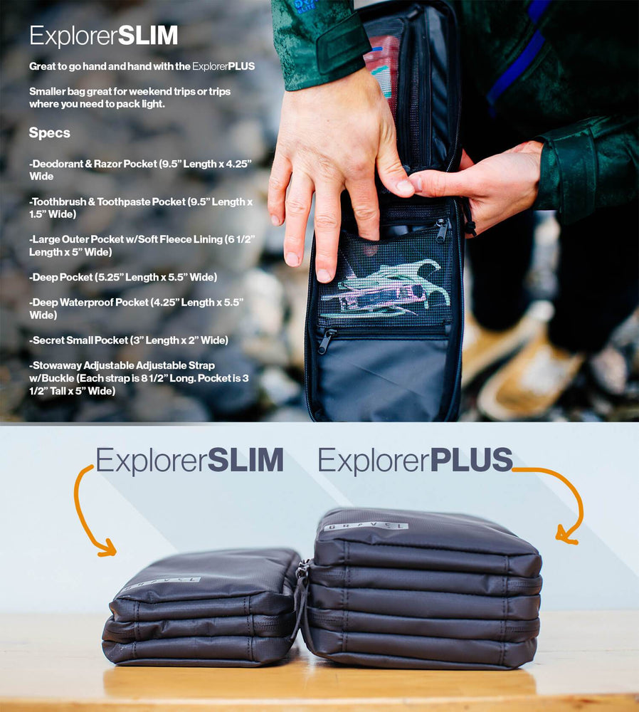 Differences between the explorer slim and plus include size and difference of pockets