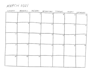 (Print at home) 2021 Calendar *black & white