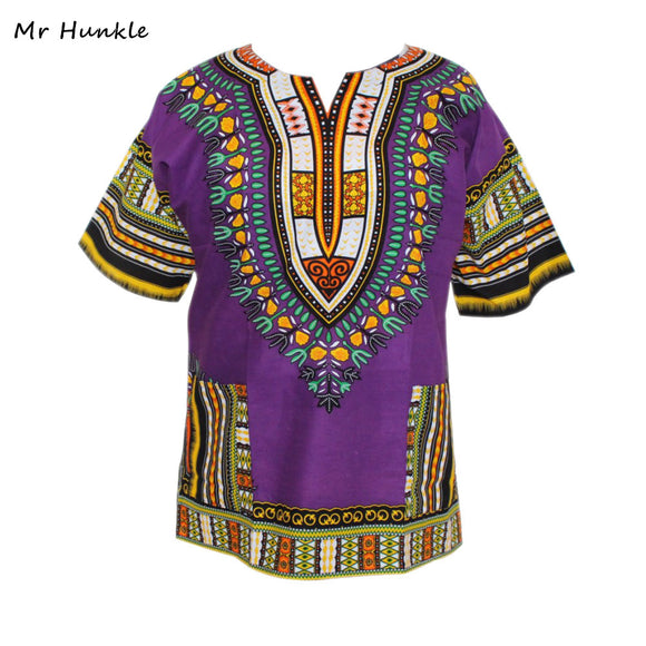 New Arrival Dashiki Dress 100% Cotton New Purple Dashiki Printed T-shirt for Women