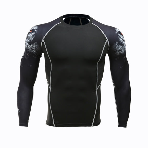 Mens MMA Fitness T Shirts Fashion 3D Teen Wolf Long Sleeve Compression Shirt Bodybuilding Crossfit Brand Clothing Fitness