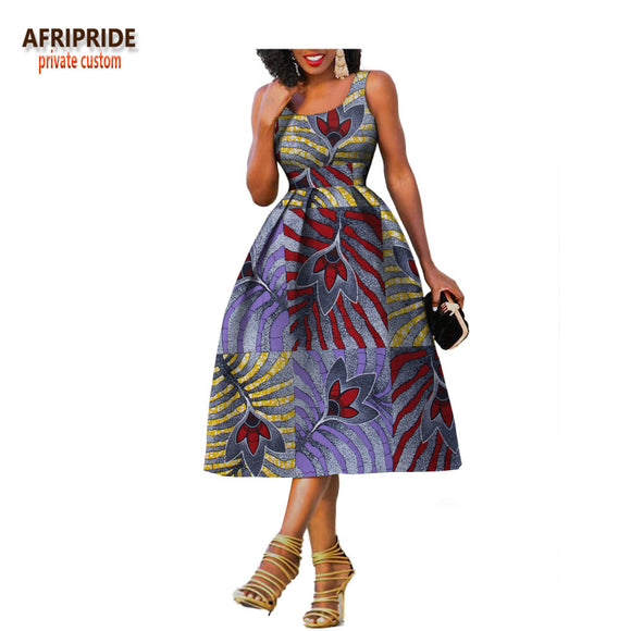 Private custom african clothes summer dress for women knee-length  sleeveless batik party dress  A722534