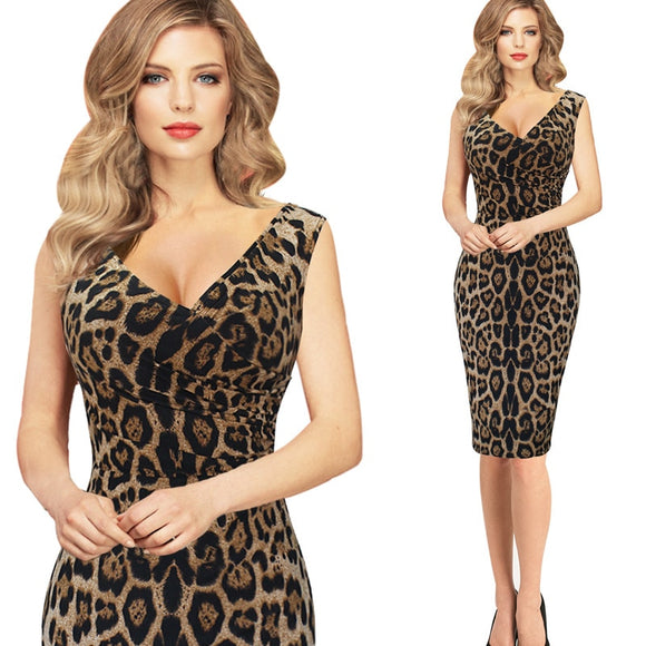 2018 Summer Women Fashion  Dress Leopard Slim Was Thin Package Hip Dress Sleeveless V-neck Mini Sexy Dress Vestido Curto