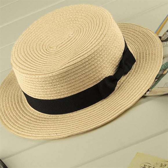 Boater Sun Caps Ribbon Round Flat Top Straw Beach Hat for Mother Kids Panama Summer Hats Straw Hat Snapback Gorras