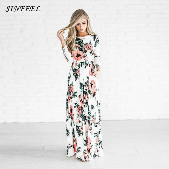 Bohemian Maxi Dress  Spring Summer Floral Print Elegant Party Beach Boho Long Dresses Women Robe Femme vestidos plus size 1