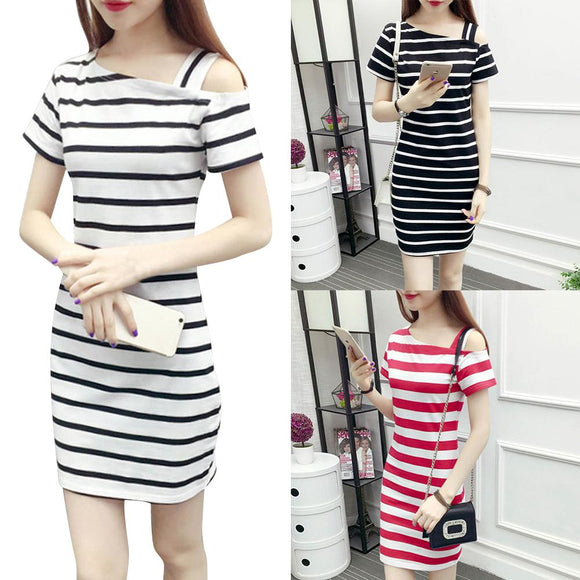 Cheap Summer Dress Boat Neck Oblique Shoulder Cotton Striped Medium Style Short-sleeved Casual Dress
