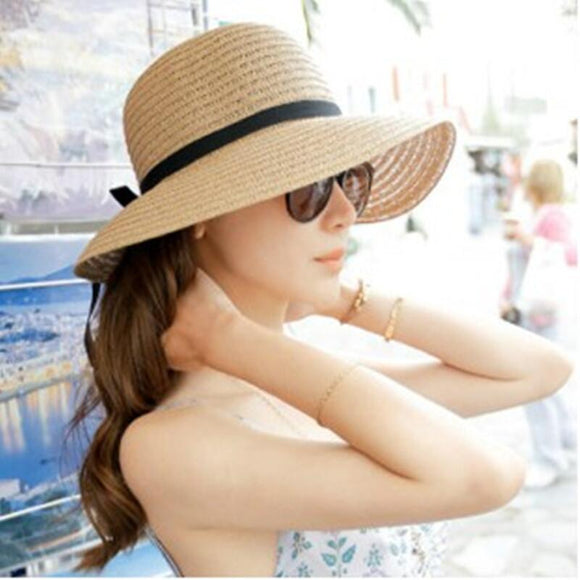 Fashion Beautiful Adult cap Bow Straw hat Summer Sun Beach Sun caHat Girl Women caHat sun hats for women kentucky derby hat