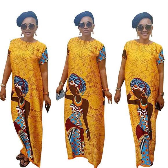 African clothing African dashiki dress riche for women Yellow grid head prints African dress style
