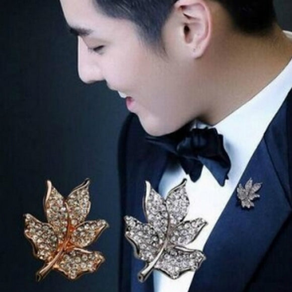 High-grade Men's Suits Japan And Korea Version Of The Small Maple Tree Men And Women Clothing Fine Leaf Brooch Jewelry Wholesale