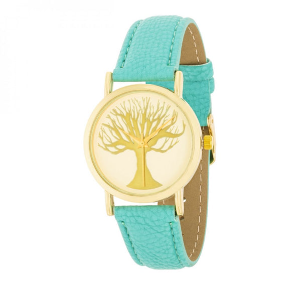 Fashion Tree Dial Watch With Leather Band