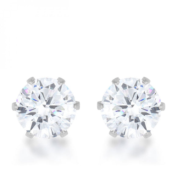 Reign 3.4ct Cz Rhodium Stainless Steel Stud Earrings