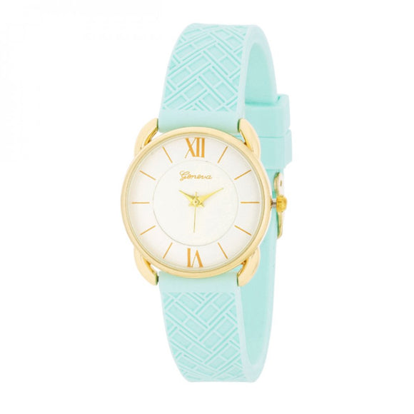 Mina Gold Classic Watch With Mint Rubber Strap