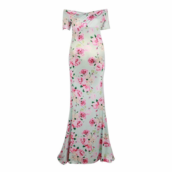 Maternity Dresses Photography Props Woman Maxi Dress Floral Ankle-Length Hohemian Clothes for Pregnant Women Pregnancy M L