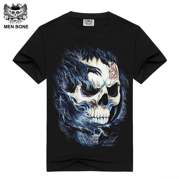 [Men bone] Men's short sleeve Black T-shirt Vulcan Skull Print Cotton T shirts for men Summer brand clothing