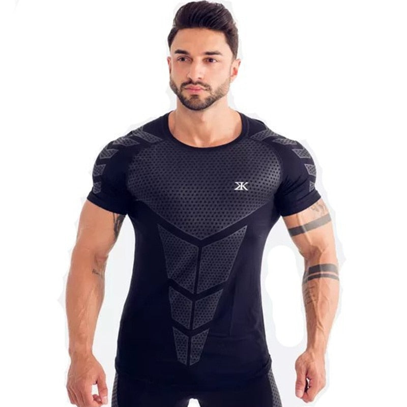 a7851f89975 ... New Men Compression T-shirt Jogger Sporting Skinny Tee Shirt Male Gyms  Fitness Bodybuilding Workout ...