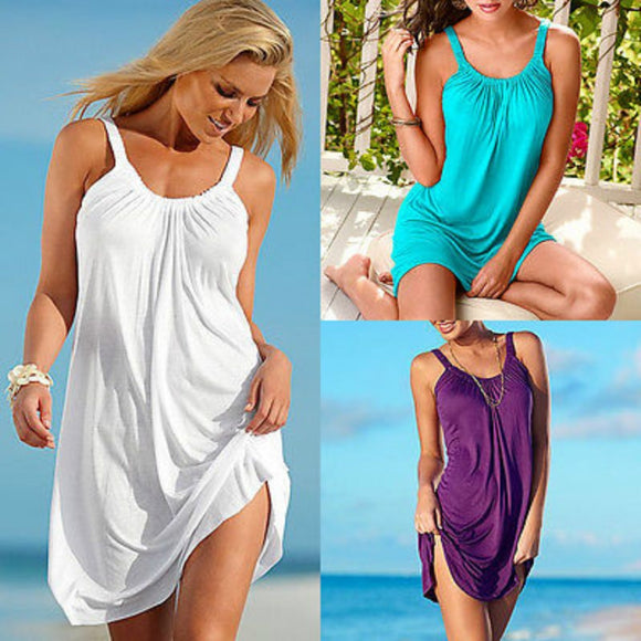 New Women Ladies Sleeveless Beach Sundress Party Casual Sexy Mini Dress Swimwear