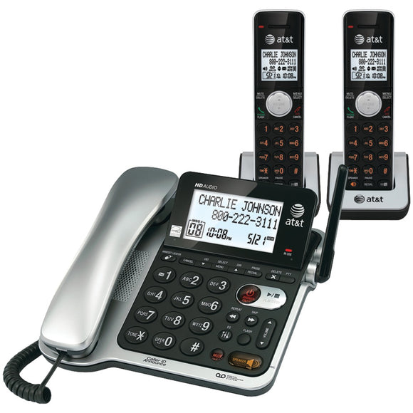 Att Dect 6.0 Corded And Cordless 2-handset Phone System With Call Waiting And Caller Id