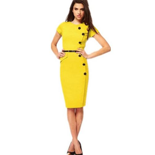 Yellow Fashion Slimming Midi Dress with Buttons