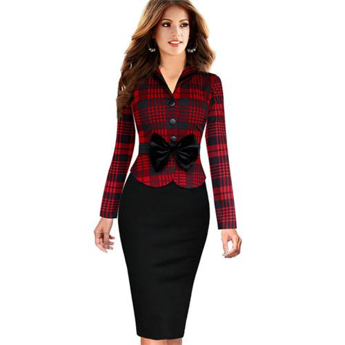 Women Long Sleeve Bowknot Grid Patchwork Midi Dress Red
