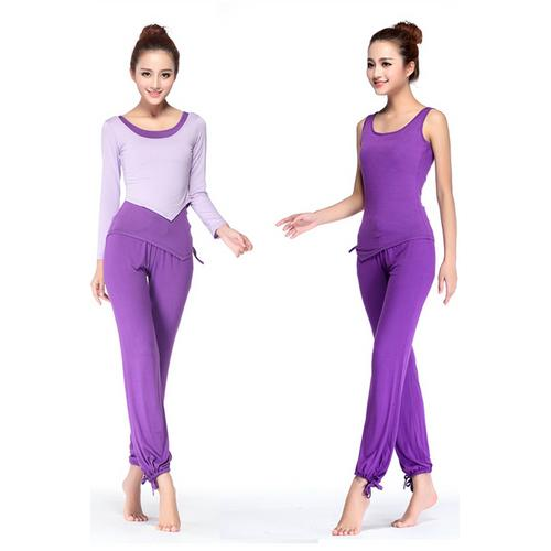 New Arrival Fashion O-neck 3 Pieces Yoga Sport Suit Purple