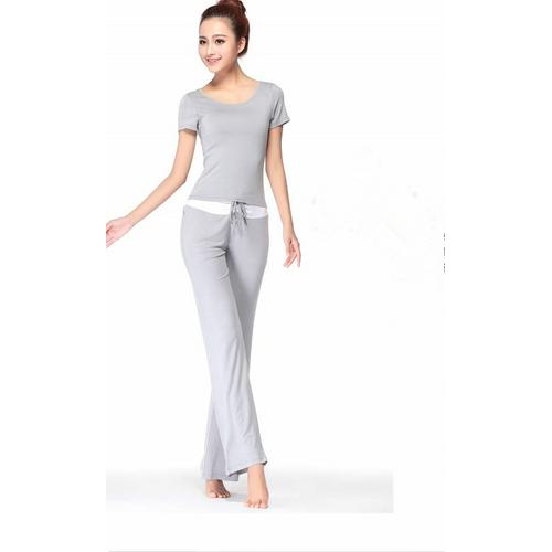 New Arrival Elegant O-neck 2 Pieces Yoga Sport Suit Grey