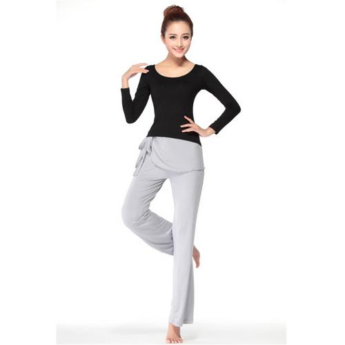 Stylish Back Lacing Elegant O-neck 3 Pieces Yoga Sport Suit Black & Grey