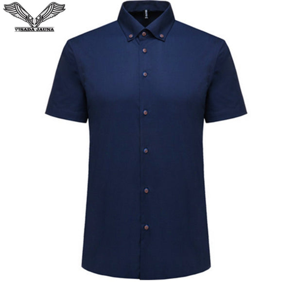 VISADA JAUNA  New Men's Shirt Short Sleeve Slim Popular Casual Brand Clothing Solid Cotton Dress Chemise Homme Size 5XL N962